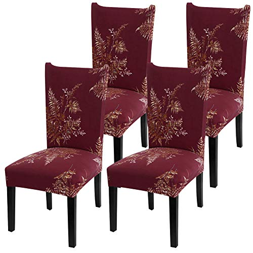 YISUN Stretch Dining Chair Covers Removable Washable Short Dining Chair Protect Cover for Hotel,Dining Room,Ceremony,Banquet Wedding Party (Red/Leaf Pattern, 4 PCS)