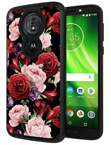 Moto G6 Play Case, Moto G6 Forge Case, ANLI Drop Protection [Fashion Flowers Design] Hybrid Dual Layer Armor Protective Case Cover for Girls and Women 2018 Release Rose