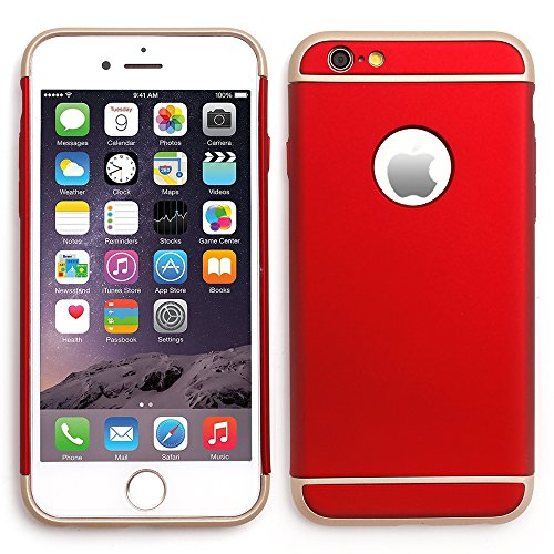 "iProtect Apple iPhone 6 (4,7"") Hülle Hard Case Schutzhülle Dual metallic rot und gold"