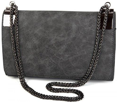 de sac pochette vintage Gris métal et couleur Noir femmes avec Foncé chaîne fermoirs dessin 02012046 soirée styleBREAKER en 5EqaWgd5