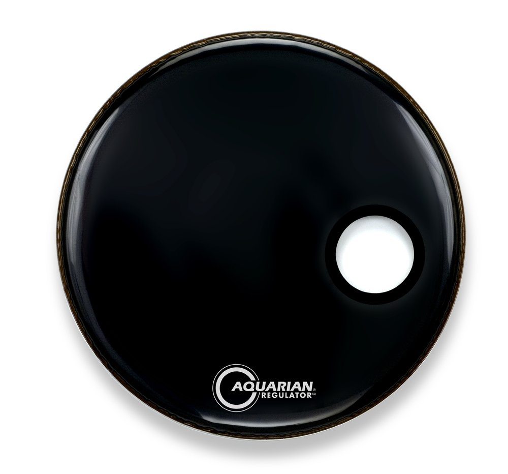 Aquarian Drumheads RSM16BK  Regulator Black 16-inch Bass Drum Head, gloss black
