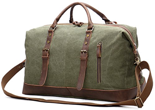 a5d6b6d5c EverVanz Oversized Holdall Travel Duffel Canvas Leather Trim Tote Shoulder  Unisex Handbag Cabin Weekend Bag - Buy Online in KSA. Luggage products in  Saudi ...