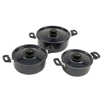 Set de cocina Rondo 3 ollas y sartenes con mango de aluminio, antiadherente: Amazon.es: Deportes y aire libre