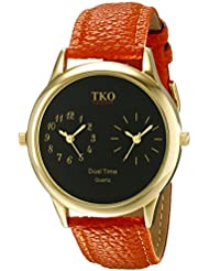 TKO Dual Time Zone Gold Watch Orange Leather Strap Ideal for the Around The World Traveler or Flight Attendant...