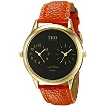 TKO Dual Time Zone Gold Watch Orange Leather Strap Ideal for the Around The World Traveler or Flight Attendant TK657