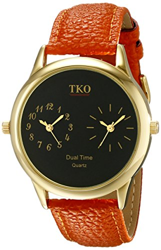 TKO Dual Time Zone Gold Watch Orange Leather Strap Ideal for The Around The World Traveler or Flight Attendant TK657 (Watch Time Multi Zone)