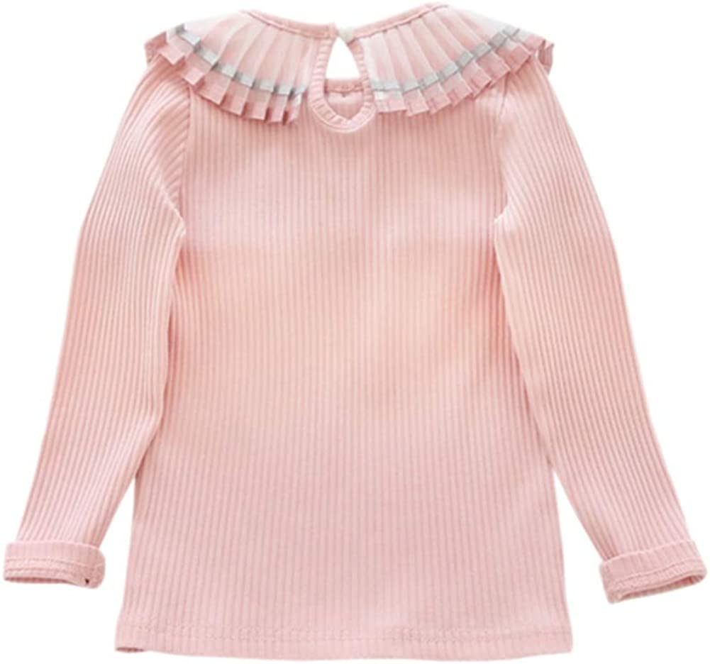 Ragazze Bambine Solido Colore Base Camicie di Fondo Bambola Collar Manica Lunga Pullover Tops
