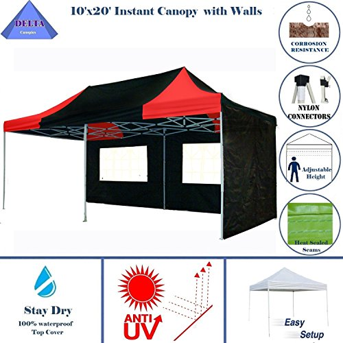 10'x20′ Pop up 6 Walls Canopy Party Tent Gazebo Ez Black/Red – E Model BY DELTA Canopies