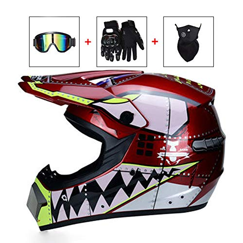 Motorcycle DH Off-Road Enduro ATV BMX MTB Downhill Dirt Bikes Quad Motorbike Cross Country Helmet for Men Women LEENY Adult Motocross Crash Helmet with Goggles Gloves Mask