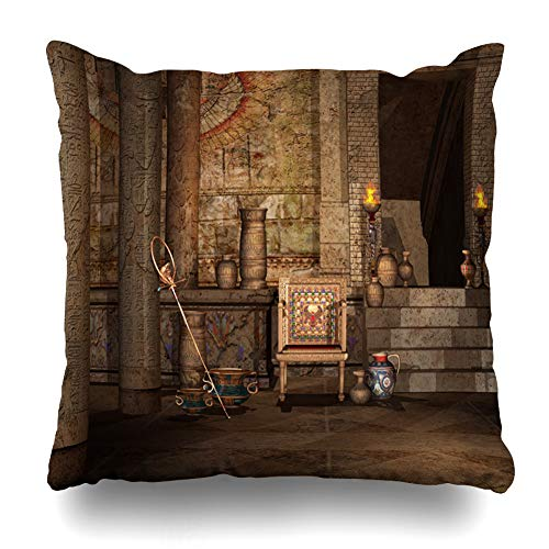 Ahawoso Throw Pillow Cover Square 16x16 Inches Chamber Egypt Fantasy Ancient Egyptian Temple Torch Chair Old Column Entrance Stairs Cushion Case Home Decor Pillowcase
