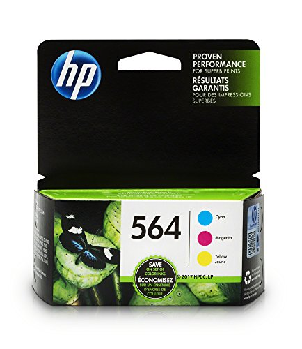 HP 564 Ink Cartridges: Cyan (CB318WN), Magenta (CB319WN) & Yellow (CB320WN), 3 Ink Cartridges (N9H57FN)