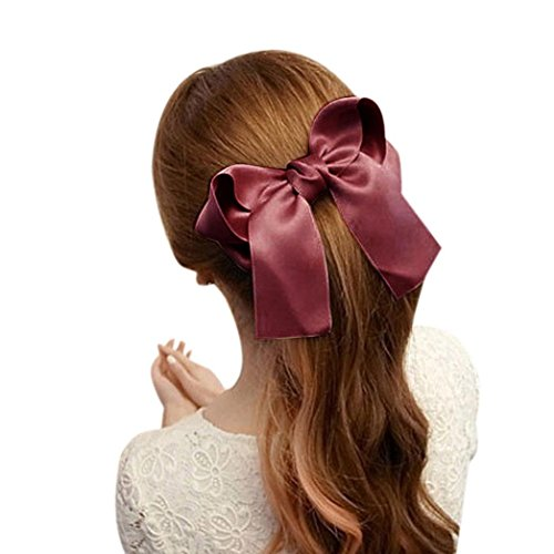 Gypsy Costume Clip (Usstore 1PC Women Girls Cute Large Big Satin Hair Hair Clip Boutique Ribbon Bow Tools Hair Accessories (Red))