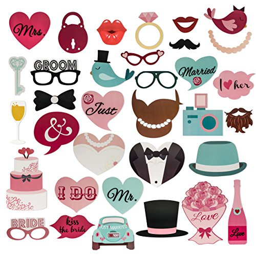 Photo Booth Props Kit For Wedding Party Funny & Colorful Novelty Bachelor Bachelorette Prop Set 36 Pieces + FREE Assembly Kit, Ideal For Wedding Celebration Party & Anniversary Parties