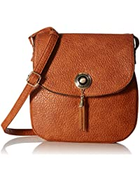 Double Compartment Metal Tassel Accent Crossbody Bag with Flap Top
