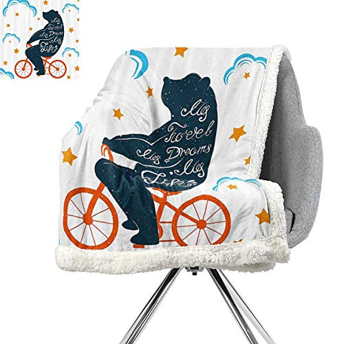 ScottDecor Modern Berber Fleece Blanket,Bear Riding Bike with Inspirational My Travel My Dreams My Life Quote Stars Clouds,Multicolor,Print Summer Quilt Comforter W59xL31.5 Inch