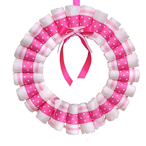 Baby Diaper Wreath, Baby Shower Door Decor, Diaper Centerpiece, Baby Girl Shower Decorations, Pink Diaper Wreath, Baby Shower Sign