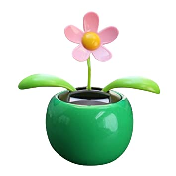 6 Eco-friendly Bobble head Solar Dancing Flowers in Colorful Pots