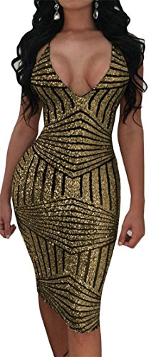 Cromoncent Femmes Sexy Sequinc Sangle Spaghetti Dos Nu Robes De Bandage Moulante Or
