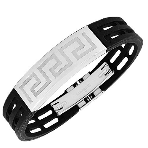 My Daily Styles Stainless Steel Black Rubber Silver-Tone Greek Key Men's Bracelet