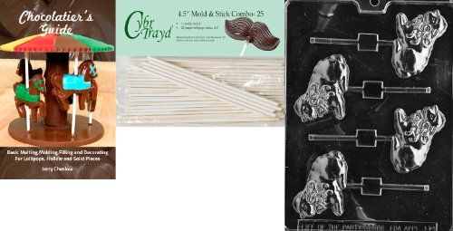 Cybrtrayd 'Lamb with Bow Lolly' Easter Chocolate Candy Mold with 25 4.5-Inch Lollipop Sticks and Chocolatier's Guide