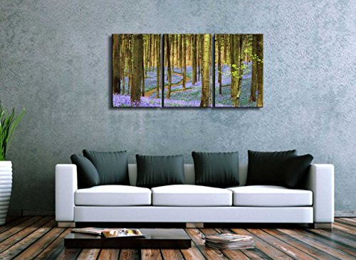 Three Piece Tree Forest During Spring Time with Lavender Flowers on The Ground on 3 Panels