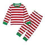 Puseky Toddler Boy Girl Kids Striped Shirt + Pants Outfits Homewear Pajamas Set (6~7T, Red)