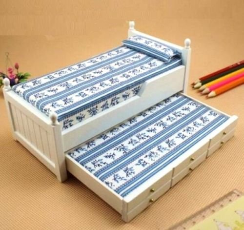 EatingBiting(R) 1:12 Dollhouse Miniature Wooden Blue Flower Bed with Drawers Doll Furniture Wooden White Trundle Wooden Bed , DIY Scene Doll Home Furniture Craft Accessoreis .