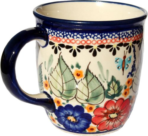 Polish Pottery Mug 12 Oz. From Zaklady Ceramiczne Boleslawiec #1105-149 Art Signature Unikat Pattern, Capacity: 12 Oz.