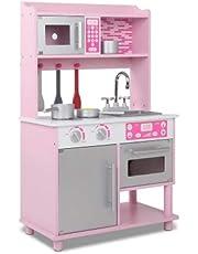 Kids Wooden Kitchen Pretend Play Set Children Toy Cooking Home Cookware Chef