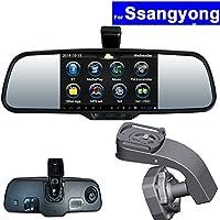 SZSS-CAR Touch Screen Car Rear View Mirror DVR GPS Navi Bluetooth WIFI for Ssangyong Korando Kyron Actyon Rexton Android Auto Monitor