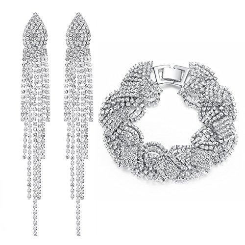 (mecresh Silver Wedding Long Austrial Crystal Tassel Earring and Twist Bracelet Jewelry Sets)