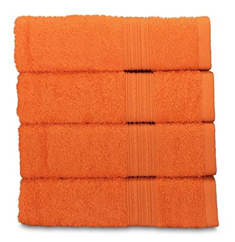 Goza Towels Cotton Hand Towels, 16 by 28 inch (4 Pack) (Orange) (Orange Washcloths)