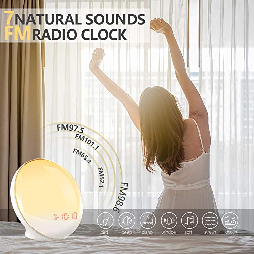Sunrise Alarm Clock for Kids, TITIROBA, Wake Up Light for bedrooms, Dual Alarm with FM Radio, Digital LED Clock with Snooze Function, Night Light with Sunset Simulation, USB Charge Port-AM/PM by TITIROBA (Image #3)