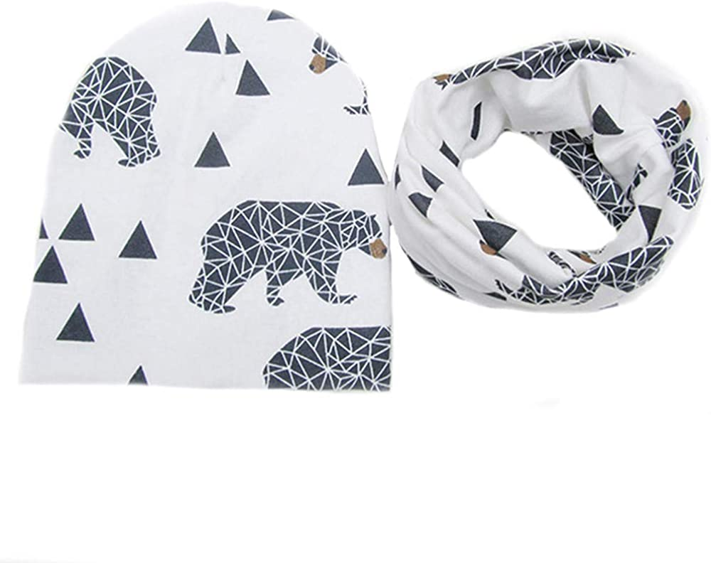 Baby Boys Girls Beanie Cat Cotton Hat Children Print Hats Digood Suit for 1-3 Years Old Kids
