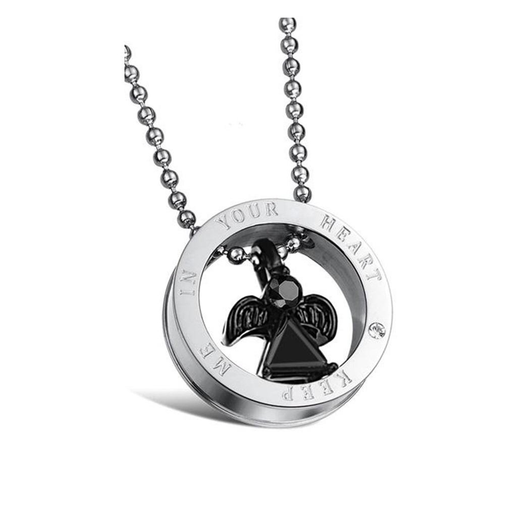 Novelty Necklace KnSam Couple Stainless Steel Ring Set Necklace 2 Tones Angel Keep Me in Your Heart