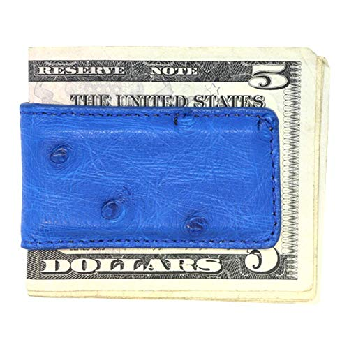 Blue Genuine Ostrich Magnetic Money Clip - American Factory Direct - Strong Shielded Magnets - Money Holder - Money Holder - Made in USA by Real Leather Creations FBA508