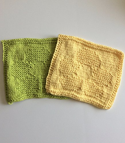 Handmade knit flower dishcloths in yellow and lime green