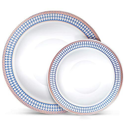 Laura Stein Designer Dinnerware Set | 32 Disposable Plastic Party Bowls | White Wedding Bowl with Blue Rim & Rose Gold Accents | Set Includes 16 x 12 oz Soup Bowls + 16 x 5 oz Dessert Bowls | Midnight