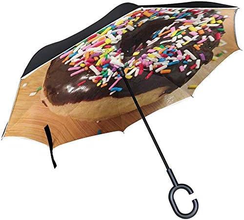 Elxf Inverted Umbrella Flavored Coffee Donut Doppelschicht-Reverse-Regenschirm, winddichter UV-Schutz Großer gerader Regenschirm mit C-förmigem Griff