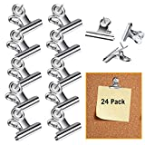 24 Pcs Push Pins Thumb Tacks Clips, Chip Clips with Pins for Cork Boards, Bulletin Boards and Cubicle Walls for Bag, Photo, Notes, Papers, Maps, Office, School, Home and No Holes