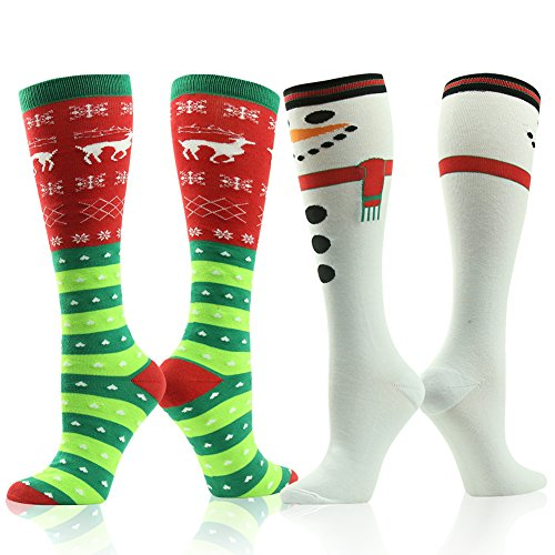 Cute Cartoon Socks, Gmark Women's Halloween Snowmen Lovely Socks Gift Elk Snow And Love 2-Pair