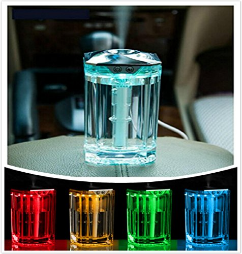 SUPERNIUDB Crystal 120ML Portable Ultrasonic USB Mini Diffuser With Color Changings Car Air Humidifier Purifier LED Car Ionizer Diffuser