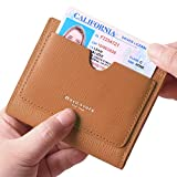 Borgasets Women's RFID Blocking Small Compact Bifold Leather Pocket Wallet Ladies Mini Purse with id Window Brown