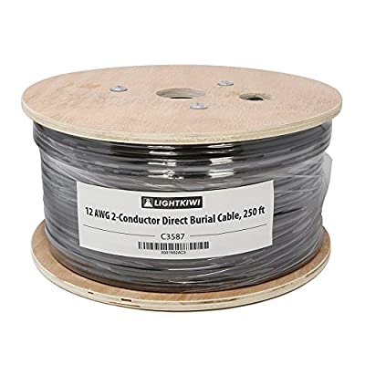 Lightkiwi C3587 12AWG 2-Conductor Direct Burial Wire for Low Voltage Landscape Lighting, 250ft
