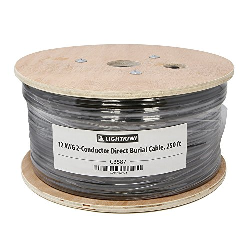 Lightkiwi C3587 12AWG 2-Conductor 12/2 Direct Burial Wire for Low Voltage Landscape Lighting, 250ft (Wire Low Voltage Landscape Lighting)