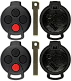 KeylessOption Keyless Remote Smart Car Uncut Blank Key Fob Case Shell Cover Housing For Smart Fortwo KR55WK45144 (Pack of 2)