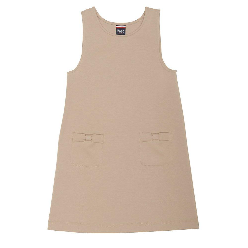 French Toast Girls' Big Stretch Bow Pocket Jumper, Khaki, M (7/8)