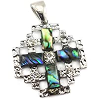 Shell Jerusalem Cross Pendant Silver Plated with Zircon Crystals Holy Land 1.7