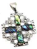 Shell Jerusalem Cross Pendant Silver Plated with Zircon Crystals Holy Land 1.7''