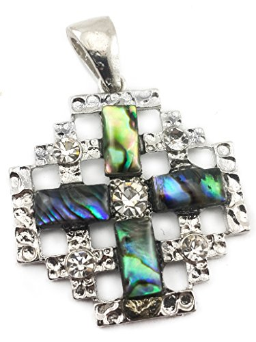 Shell Jerusalem Cross Pendant Silver Plated with Zircon Crystals Holy Land 1.7'' by Nazareth Market Store